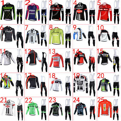 Winter Fit, New Man Thermal Fleece team Long sleeve cycling jersey,Bib pants Set