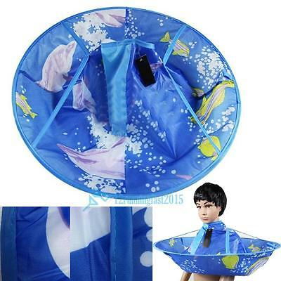 Cartoon Kids Child Hair Cutting Cape Apron Gown Hairdressing Barber Cute Blue UK