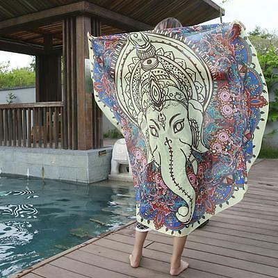 Elephant Bohemian Indian Mandala Round Beach Blanket Tapestry Hippie Throw Mat