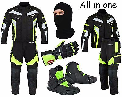 Waterproof Motorcycle Motorbike Moped Suit Jacket Trouser Gloves Boots - Green