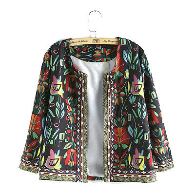 3/4 Sleeve Ethnic Floral Printed Women Casual Tops Short Coat Jacket Outwear New