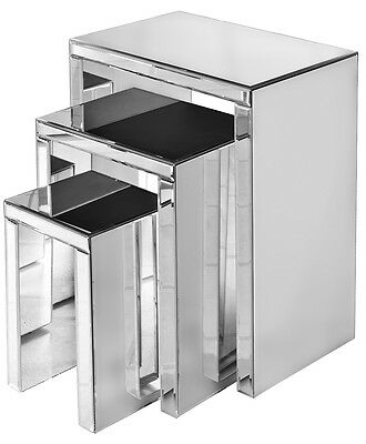 Set of 3 Mirrored Glass Nest of Tables