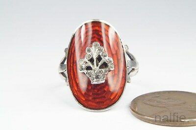 BEAUTIFUL ANTIQUE LATE GEORGIAN SILVER & RED ENAMEL RING c1820
