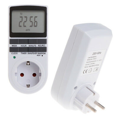 Electronic Digital EU Plug-in Programmable 12/24 Hour Timer Switch Socket 7 Day