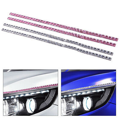 2pcs Crystal Car Headlight Lashes Eyelashes  3M Sticker Decal Accessories Decor