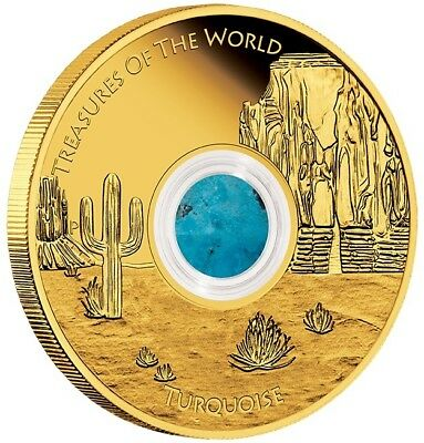 2015 $100 Treasures of the World -1oz Gold Pr Locket Coin-Turquoise-Perth Mint