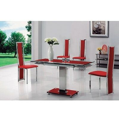 Enke Red Glass Extending Dining Table And 4 G601 Chairs