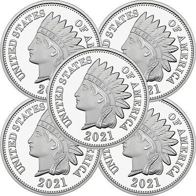 2019 Indian Head Cent  1oz .999 Silver Medallion LOT OF 5