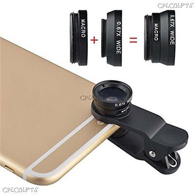 3 in 1 Universal Clip-On Camera Lens Fisheye+Wide Angle+Macro For Smart phone