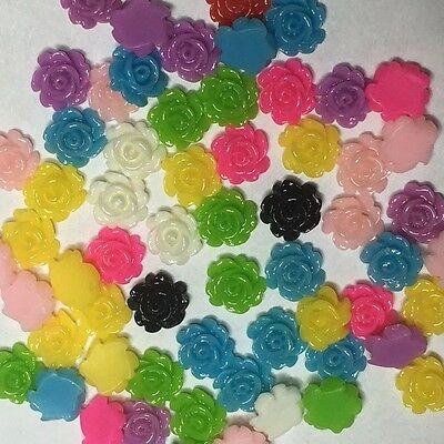 40 x 7mm small resin rose flower flat back cabochon Assorted colours FREE POST