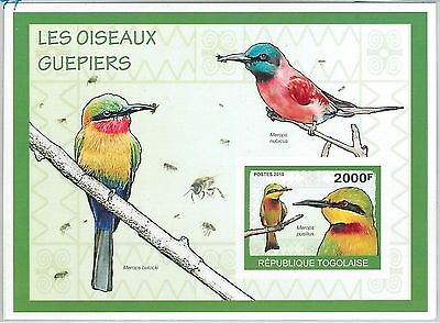 Togo - Error, 2010 Imperf Sheet: Bee Eaters Birds, Insects, Fauna