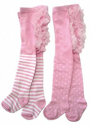 Pink Baby Girls Cotton Frilly Bottom Tights 2pk in Gift Box  12-24m - New - SALE