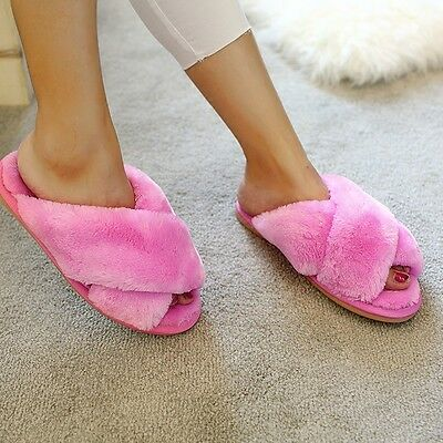 Women Winter Slipper Floor Shoes Fur Fluffy Soft Warm Home Indoor Flat Shoes New