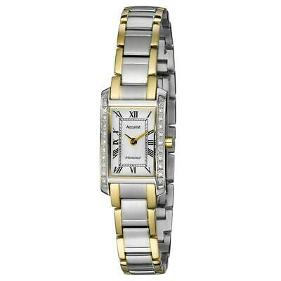 Accurist Ladies Rectangular Two Tone Diamond Watch LB1589RN