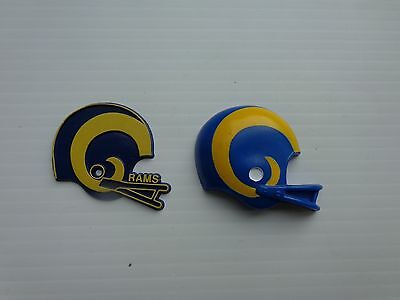 Vintage Los Angeles Rams Fridge Rubber Magnets  2 Pc. Russ Old School RARE !!!