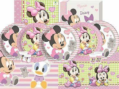 Minnie Mouse Baby Shower Disney Tableware Girls Pink Plates Cups Napkins