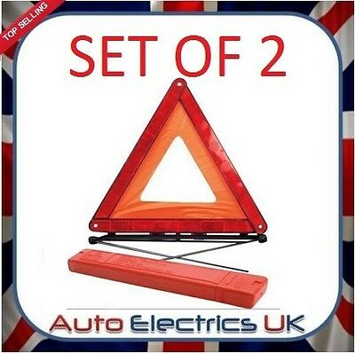 Prepared For Spain? 2 X Reflective Warning Fordable Triangle Car Eu Emergency