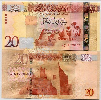 Libya 20 Dinars 2016 P New Sign Security Feature Unc
