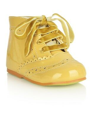 Baby Toddler Girl Spanish Romany Style Patent Camel Boots Shoes by Tia London
