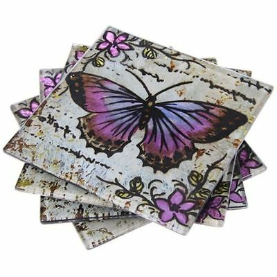 Set of 4 Glass Coasters or Drink Mats Lavender Butterfly Metallic Purple