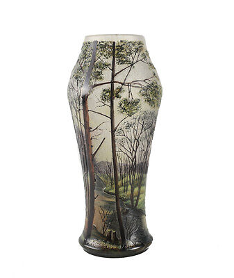 Lamartine Acid Etched Art Glass Vase Forest Scene c.1900. Signed