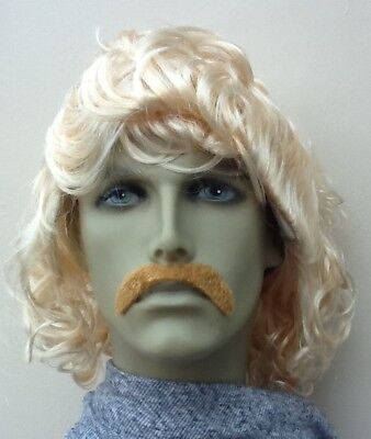 Men's Blonde Wavy/Curly Fancy Dress Wig & Dark Blonde Droop Moustache