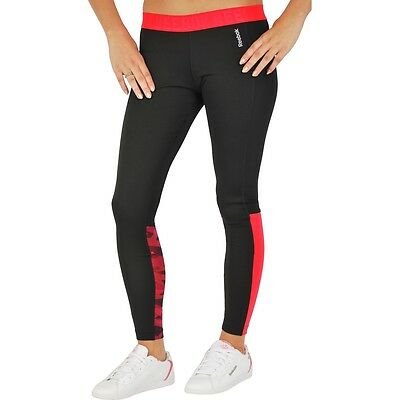 New Womens Ladies Reebok Leggings Bottoms Pants - Running Fitness Gym - Black