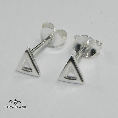 Solid 925 Sterling Silver Stud Earrings, Ear Studs, Triangle, New with Gift Bag