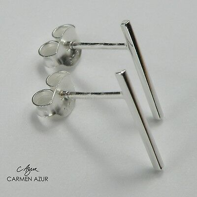 Solid 925 Sterling Silver Stud Earrings Round Bar Size12mm Long New inc Gift Bag