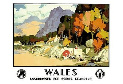 1930'S Art Deco Visit Scenic Wales Gwr Railway Poster A3 Art Print