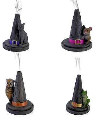 New- Lisa Parker  Witches Hat With Mouse, Owl, Frog Cat Incense Cone Burner