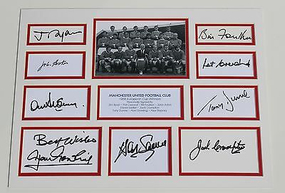 MANCHESTER UNITED 1968 Multi Hand SIGNED Autograph Photo Mount Memorabilia + COA