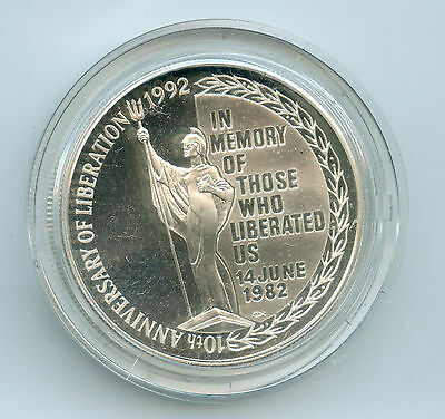 Weeda Falkland Islands 1992 Proof Silver 5 pounds Anniversary of Liberation RARE