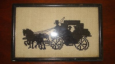 Antique Needlepoint Black on Beige Horse Drawn Carriage Silhouette Like Picture
