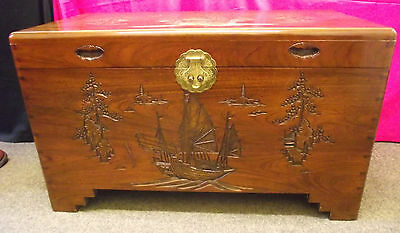 Hand Carved Wooden Camphor Chest Trunk Storage Coffee