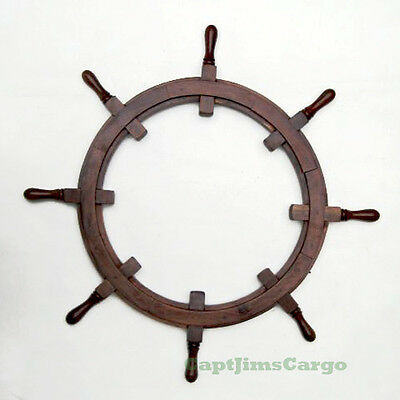 "Rustic Ships Steering Wheel Teak Wood Picture Frame 36"" Nautical Decor New"
