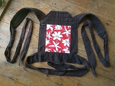 BabyHawk Mei Tai reversible baby carrier sling (brown with red/white floral)