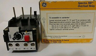 GE Spectra 700 Overload Relay CR7G1WP Auto/Manual/Stop Reset 12-15 Amps Italy