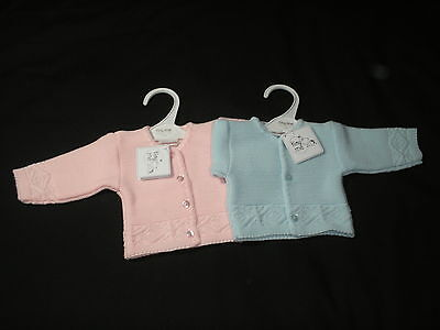 Premature Tiny baby clothe Cardigan knitted Girl Boy Small Pink Blue 3-5lb 5-8lb