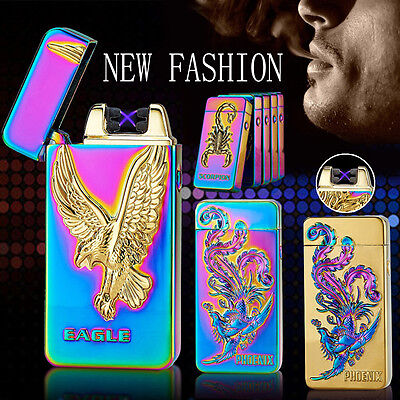 Rechargeable Rilievo Cigarette USB Flameless Lighter Windproof Double Pulse Arc