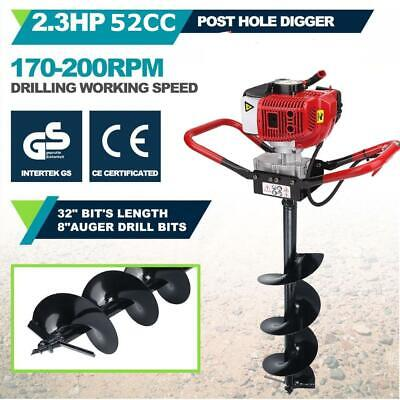 "2.3HP Gas Powered Post Hole Digger W/ 8"" Earth Auger Drill Bit 52CC Power Engine"