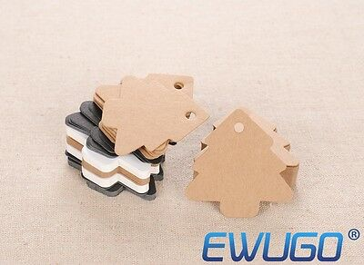 10-100PCS Kraft Paper Gift Tags Wedding Scallop Label Blank Luggage + Strings
