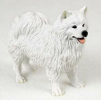 AMERICAN ESKIMO DOG Figurine Statue Hand Painted Resin Gift Pet Lovers