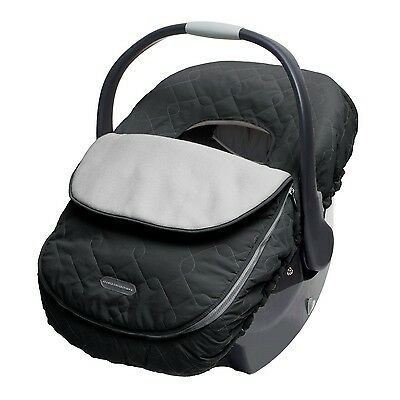 Car Seat Cover Black Elasticized Band Infant Baby Winter Soft Warm Gear Travel