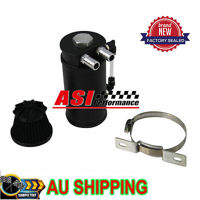 ASI Aluminum Oil RESERVOIR CATCH CAN TANK WITH BREATHER FILTER BAFFLED BLACK