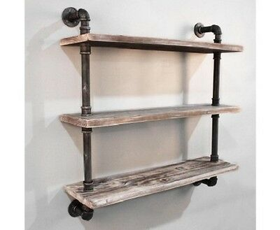 NEW 3 Level DIY Rustic Industrial Floating Pipe Shelf Metal Pipe & Solid Timber