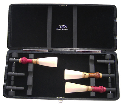 contrabassoon reed case for 6 reeds, wooden cones