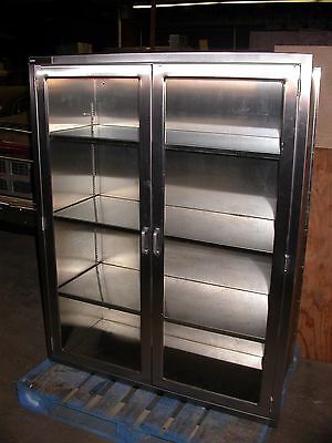 "Nice 3 Shelf Stainless Built In Medical Cabinet w/ Glass Doors 48""x 60""x 18"""