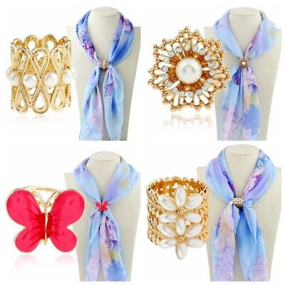 Multi Styles Pearl Crystal Scarf Rings Shawl Buckle Clip Holder Brooch Pin Gift