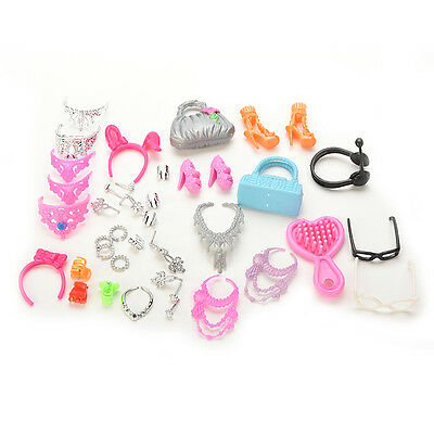 40pcs/lot Jewelry Necklace Earring Comb Shoes Crown Accessory For Barbie HS